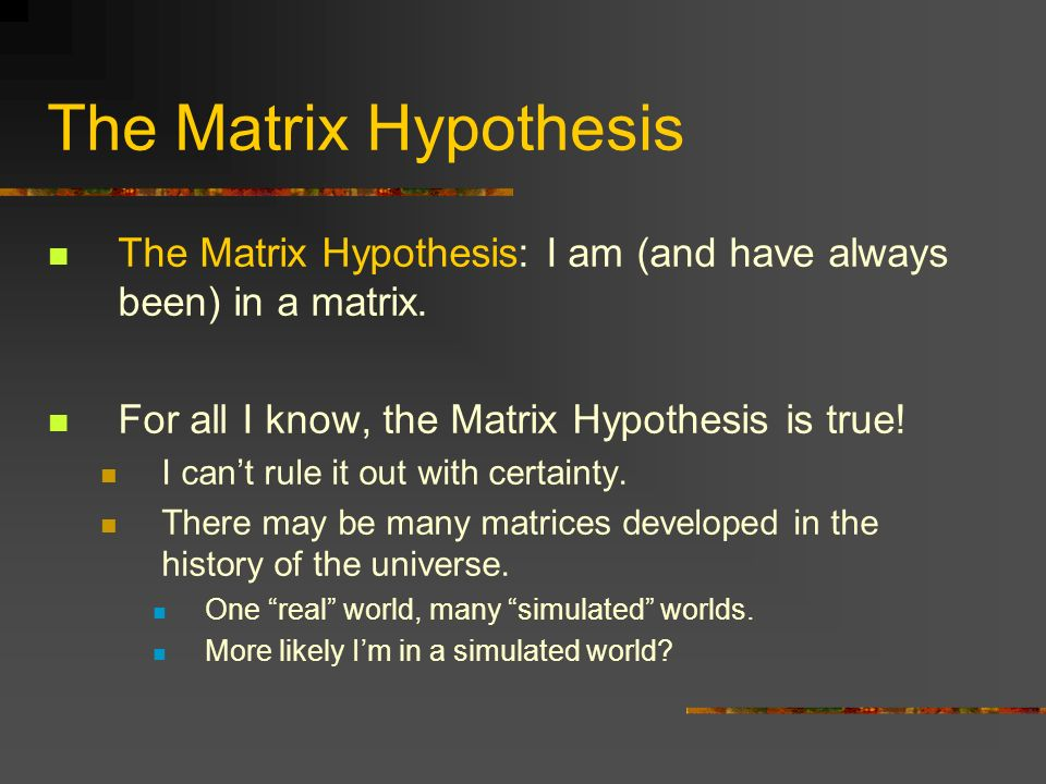 The Matrix Hypothesis The Matrix Hypothesis: I am (and have always been) in a matrix. For all I know, the Matrix Hypothesis is true!