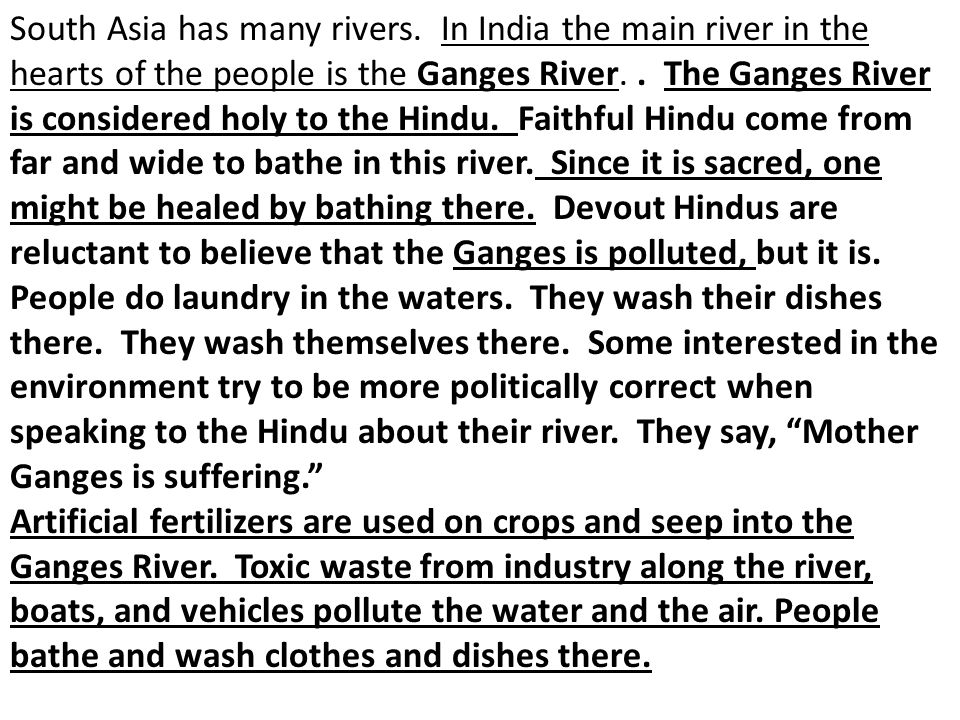 South Asia has many rivers