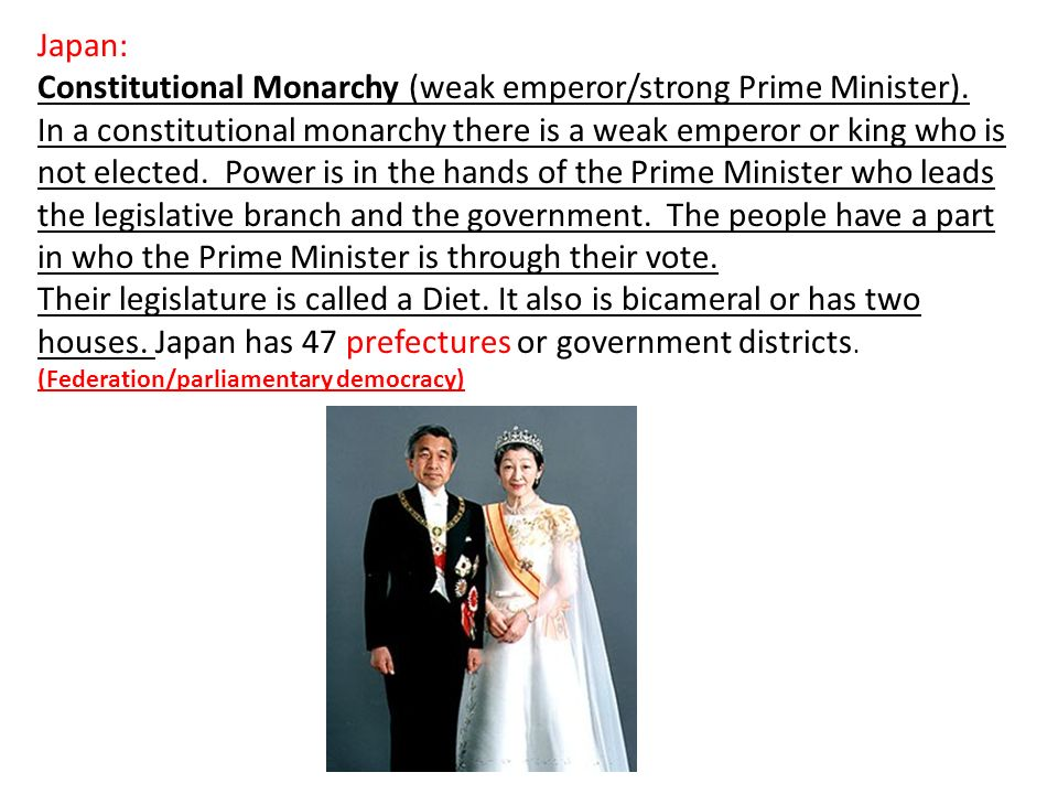Constitutional Monarchy (weak emperor/strong Prime Minister).