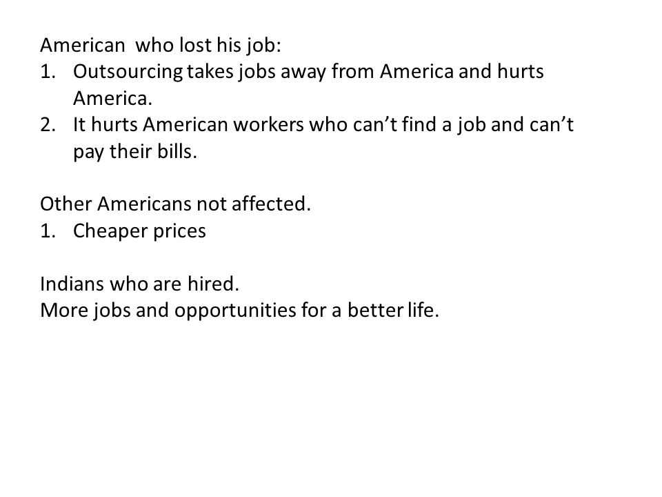 American who lost his job: