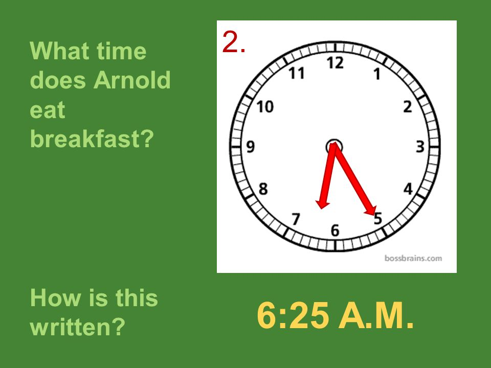 What time does Arnold eat breakfast
