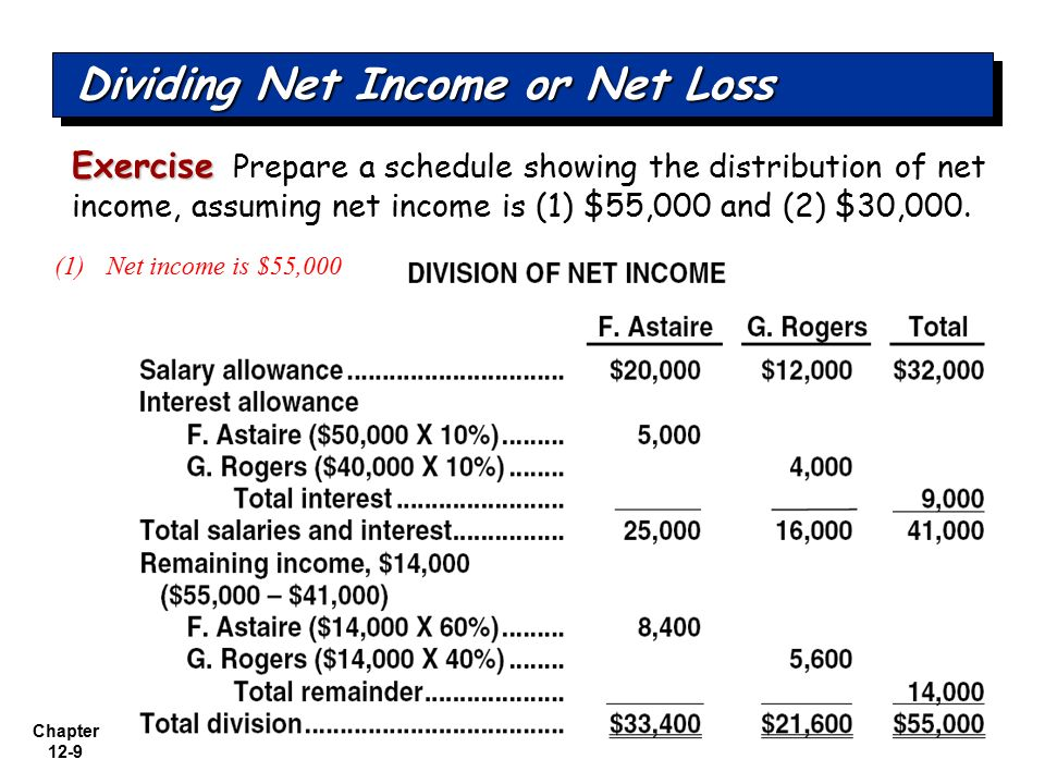 Dividing Net Income or Net Loss