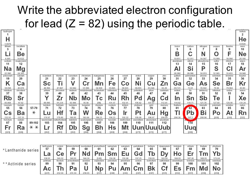 Ap chapter 5 structure of the atom ppt download write the abbreviated electron configuration for lead z 82 using the periodic table urtaz Gallery