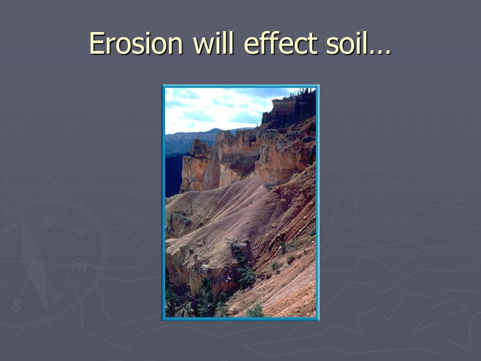 Erosion will effect soil…