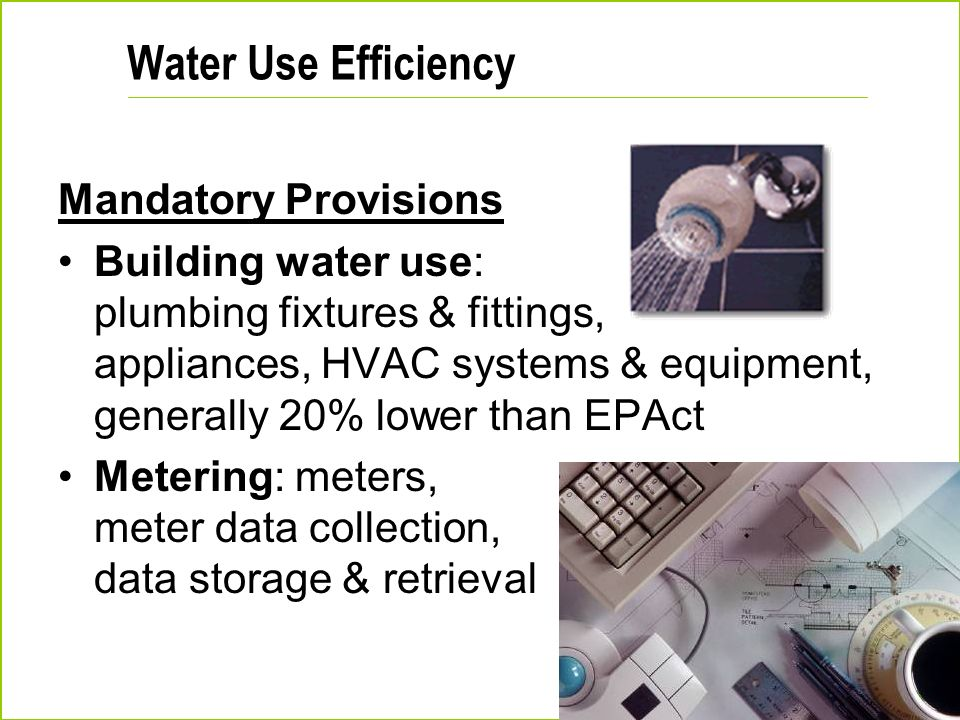 Water Use Efficiency Mandatory Provisions