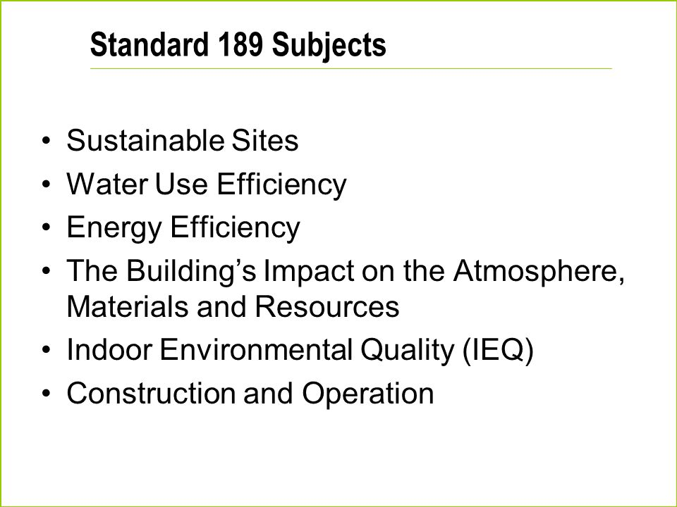 Standard 189 Subjects Sustainable Sites Water Use Efficiency