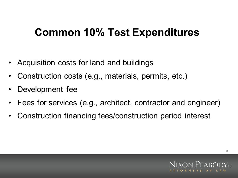 Common 10% Test Expenditures