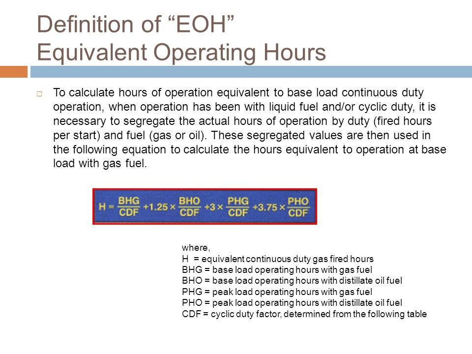 Definition of EOH Equivalent Operating Hours