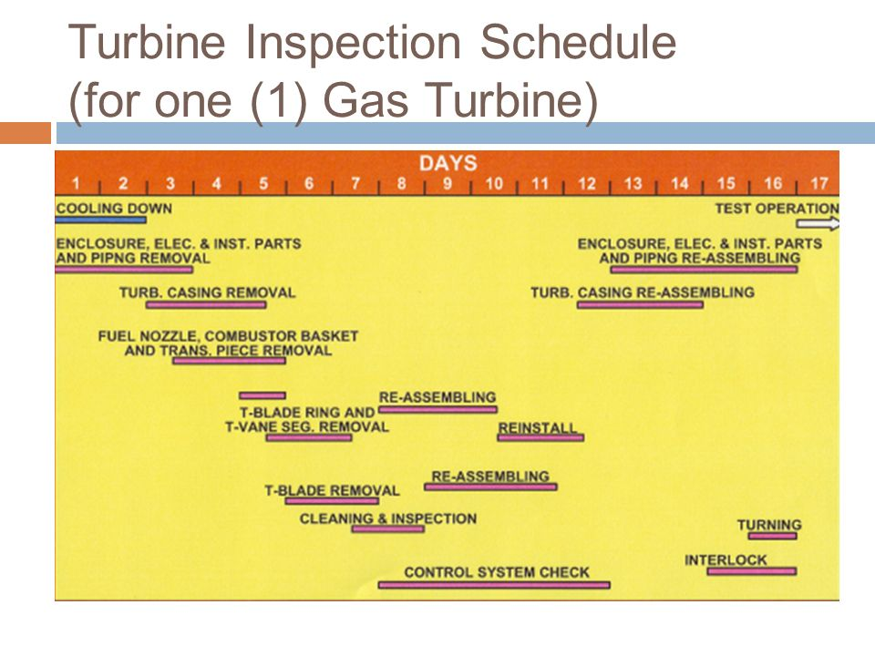 Turbine Inspection Schedule (for one (1) Gas Turbine)