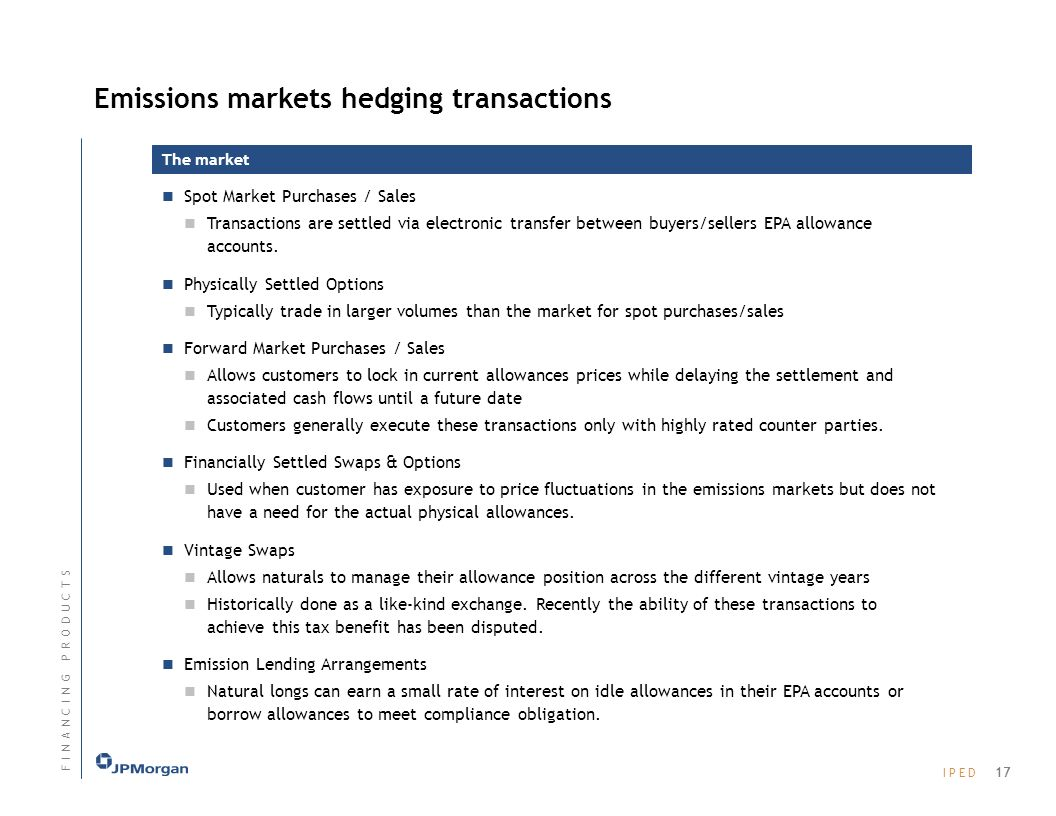Emissions markets hedging transactions