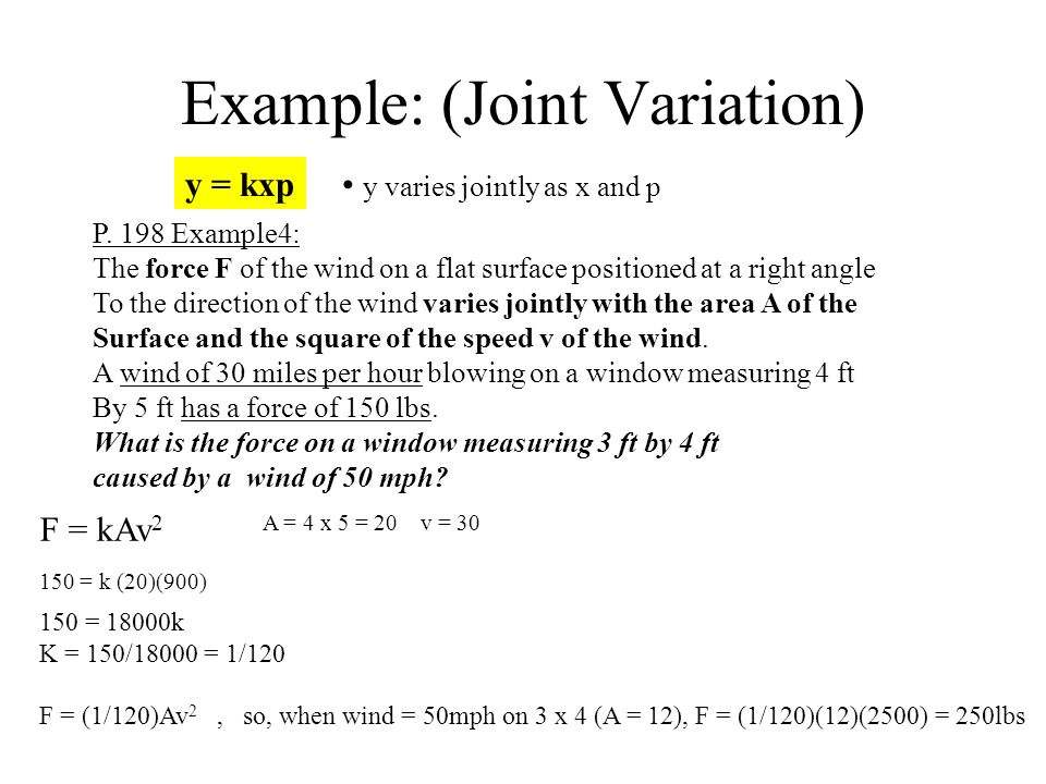 Joint variation example youtube.