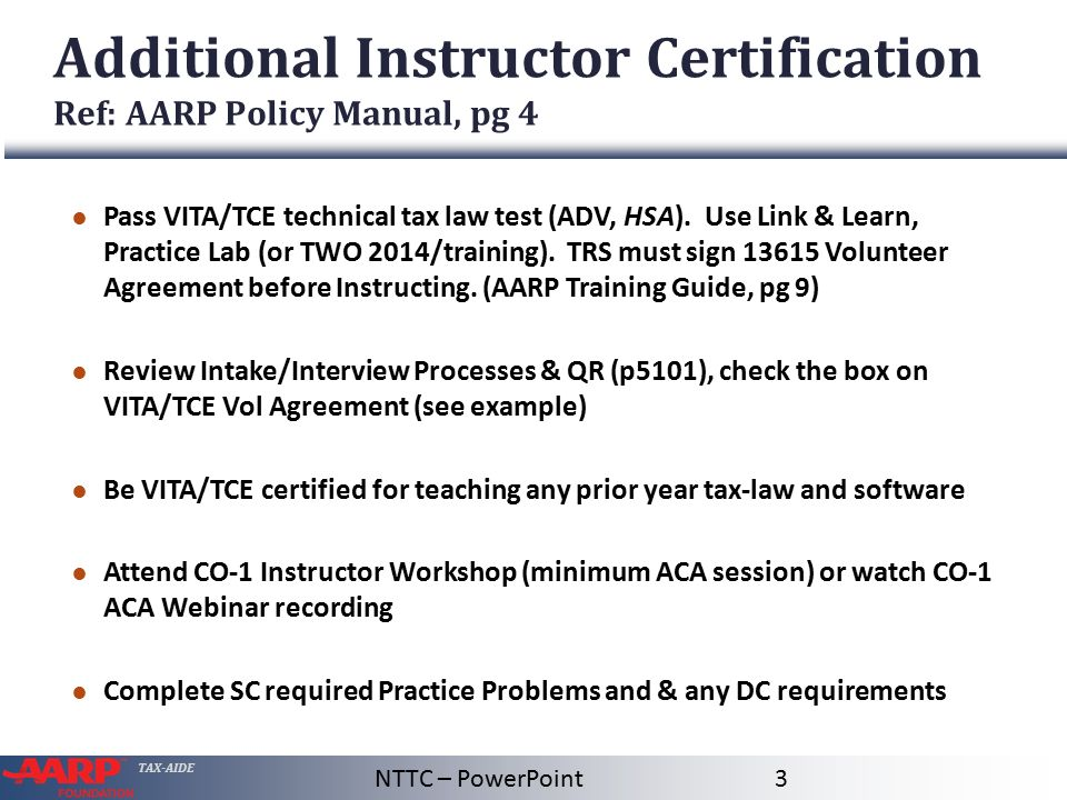 Certification Process Ref: AARP Policy Manual, pg 4 - ppt video ...