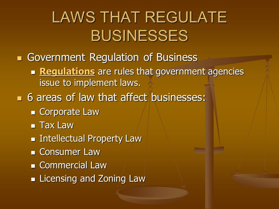 laws that regulate businesses