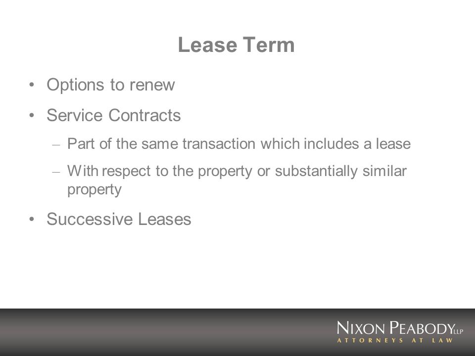 Lease Term Options to renew Service Contracts Successive Leases