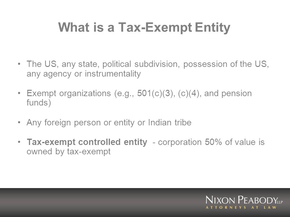 What is a Tax-Exempt Entity
