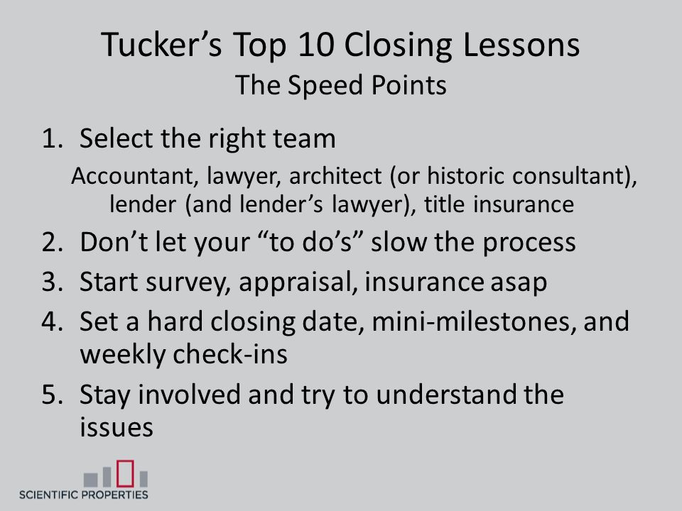 Tucker's Top 10 Closing Lessons The Speed Points