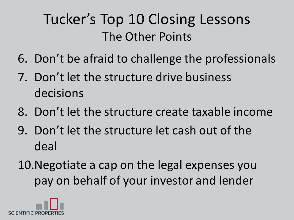 Tucker's Top 10 Closing Lessons The Other Points