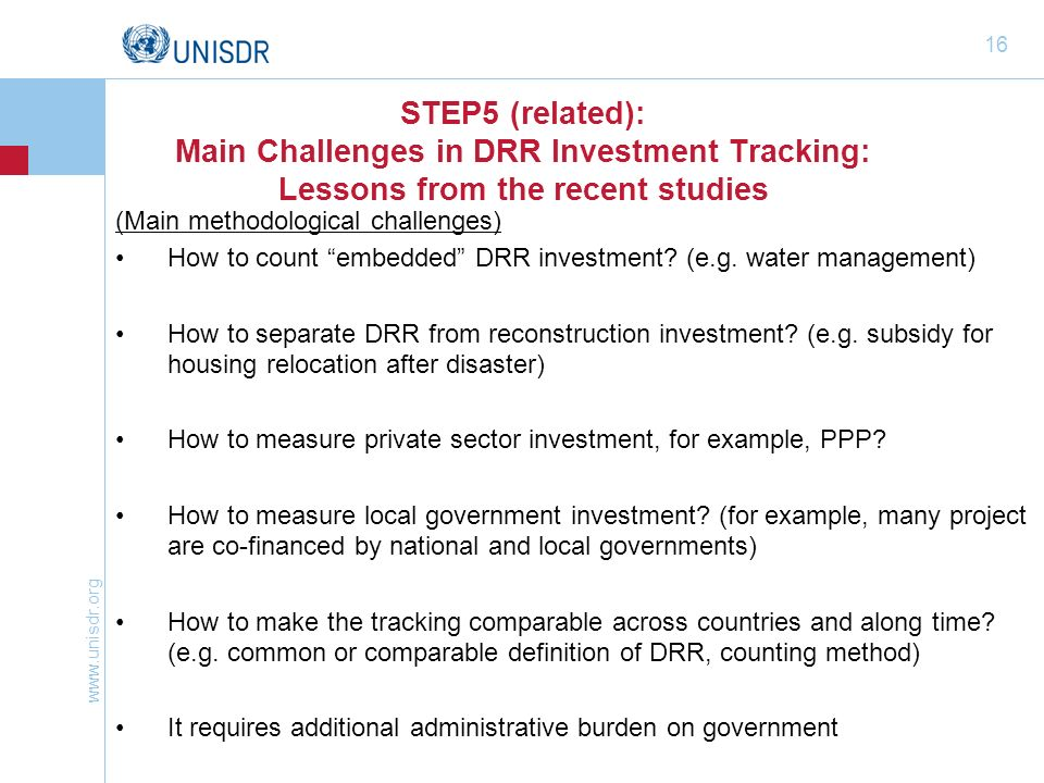 STEP5 (related): Main Challenges in DRR Investment Tracking: Lessons from the recent studies
