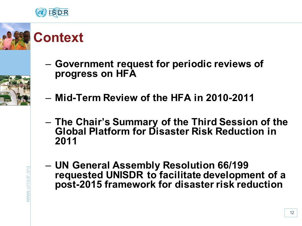 Context Government request for periodic reviews of progress on HFA