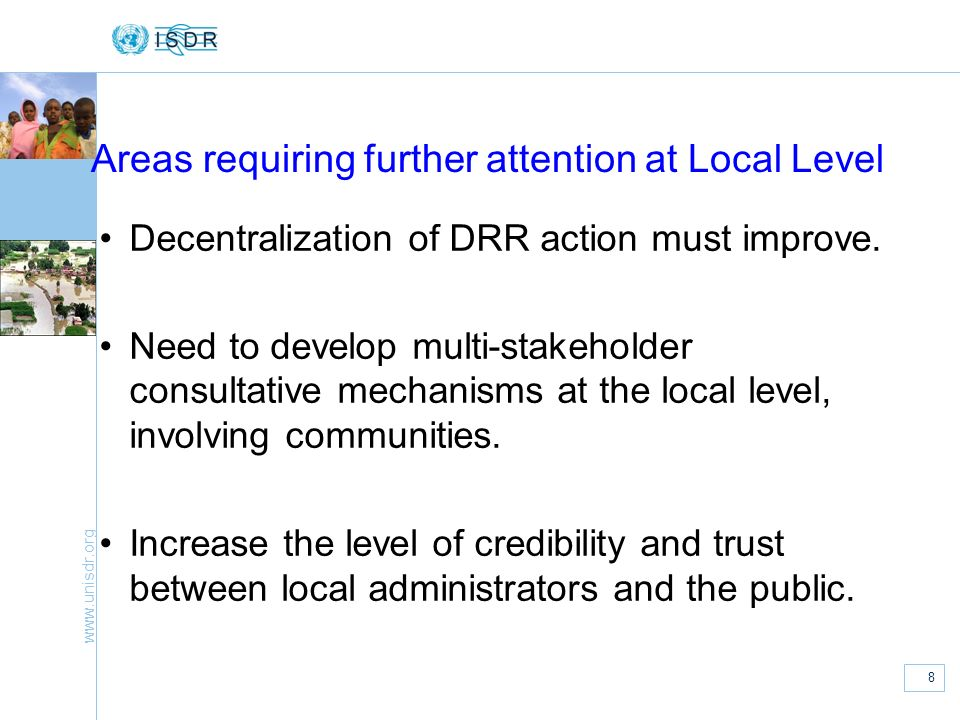 Areas requiring further attention at Local Level