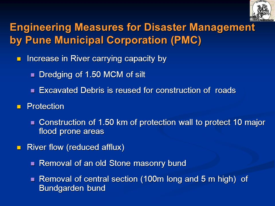 Engineering Measures for Disaster Management by Pune Municipal Corporation (PMC)