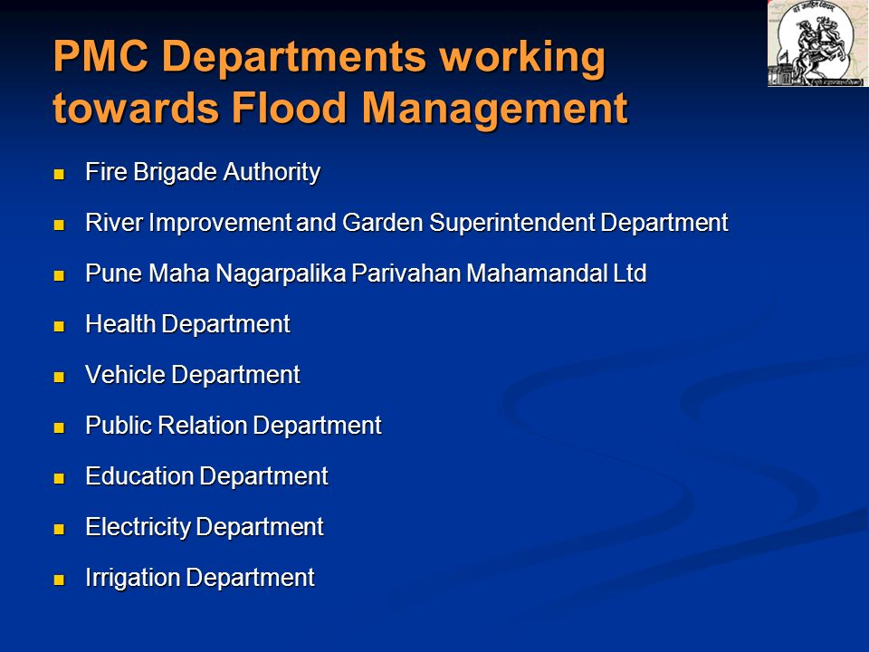 PMC Departments working towards Flood Management