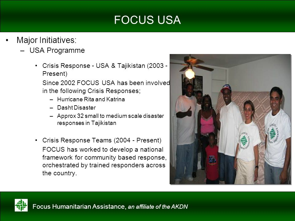 FOCUS USA Major Initiatives: USA Programme