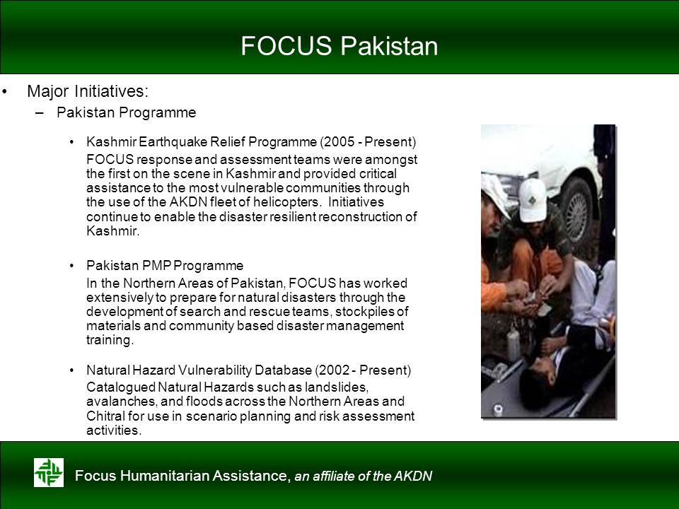 FOCUS Pakistan Major Initiatives: Pakistan Programme
