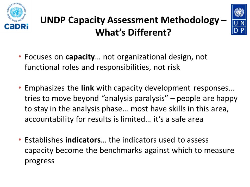 UNDP Capacity Assessment Methodology – What's Different
