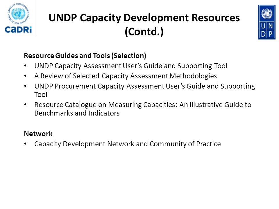 UNDP Capacity Development Resources (Contd.)