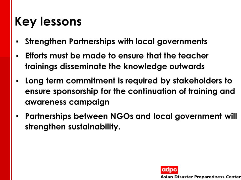 Key lessons Strengthen Partnerships with local governments