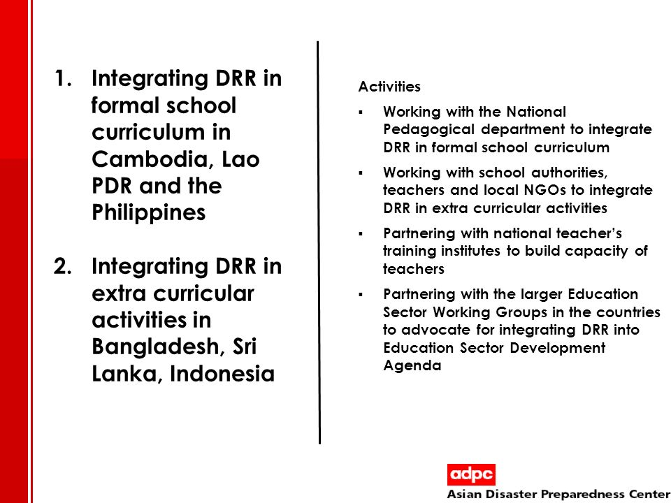 Integrating DRR in formal school curriculum in Cambodia, Lao PDR and the Philippines