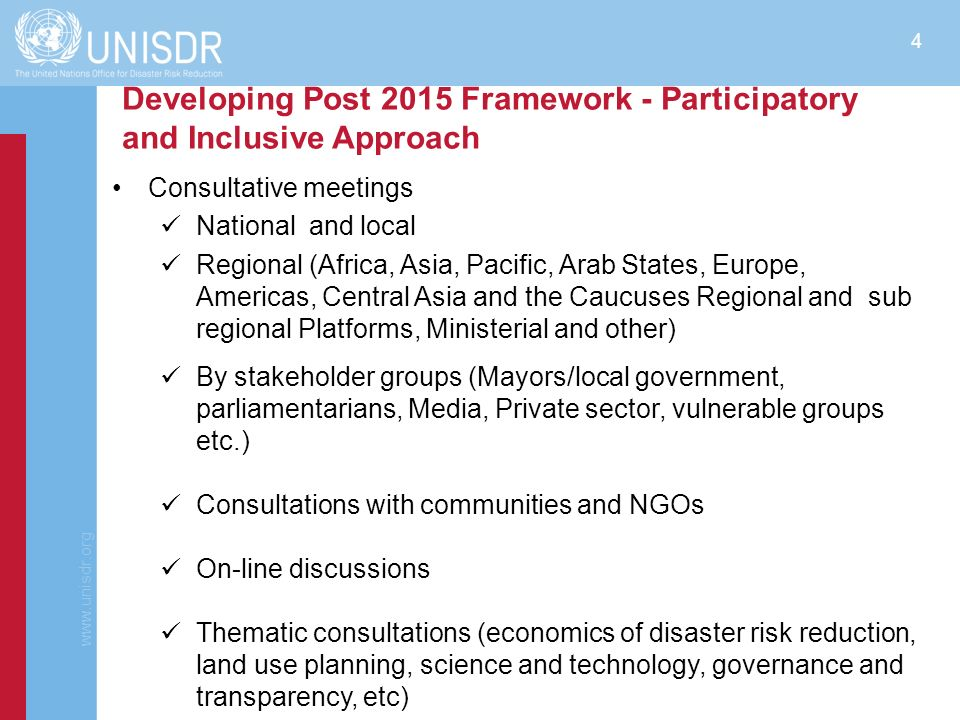 Developing Post 2015 Framework - Participatory and Inclusive Approach