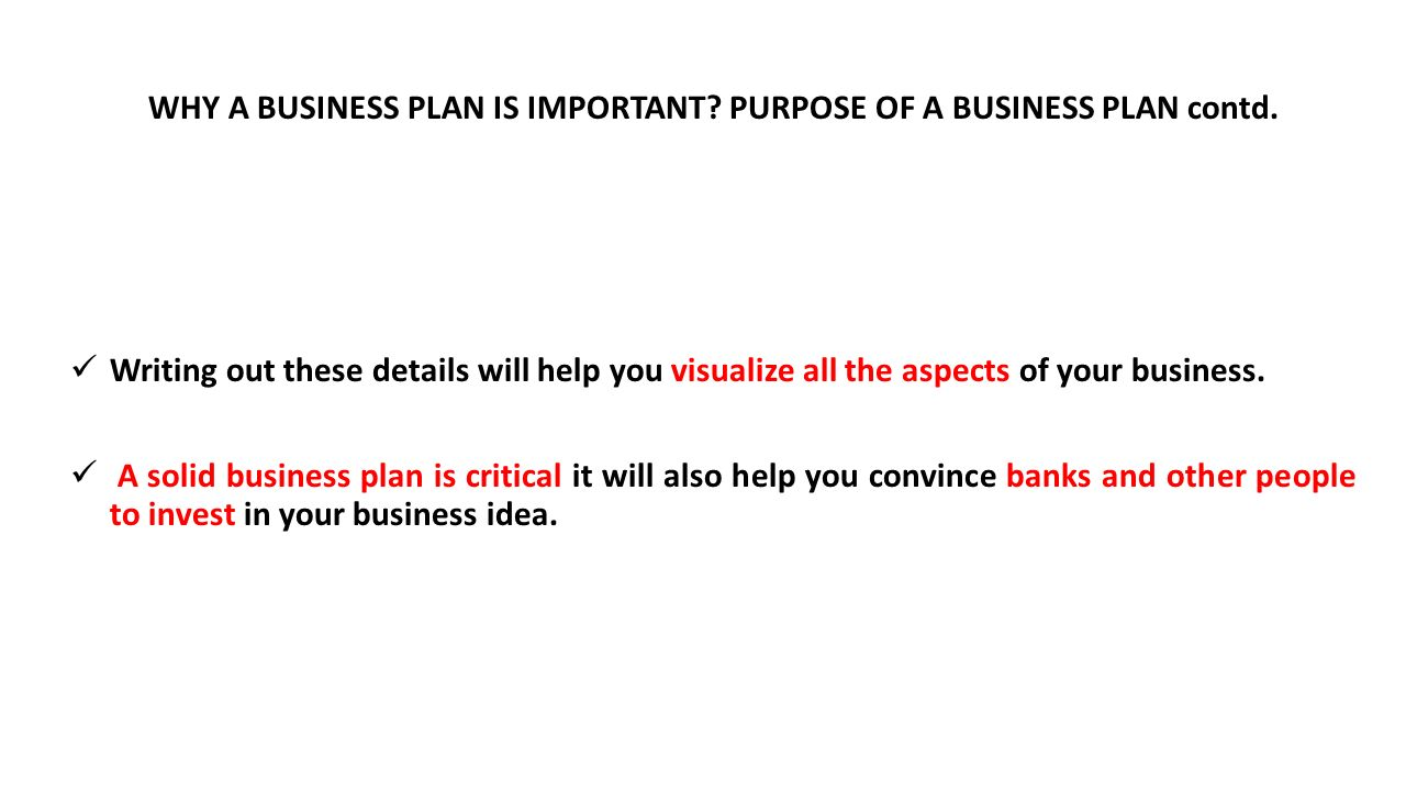 Purpose of business plan