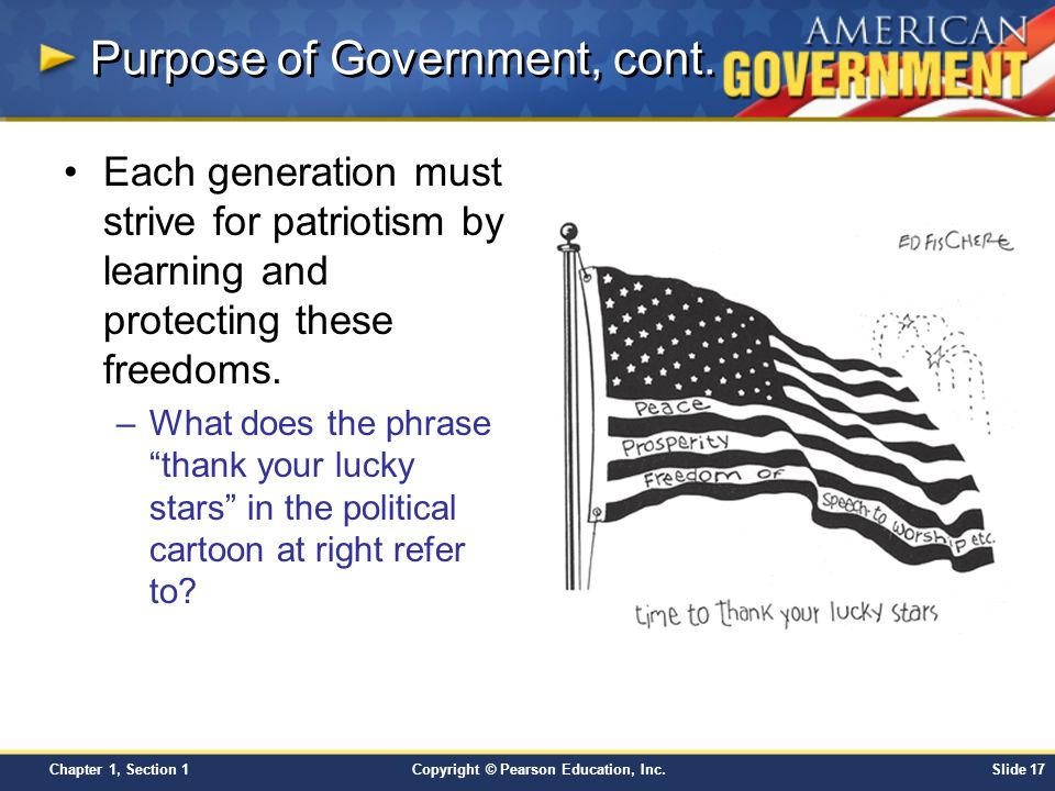 Purpose of Government, cont.