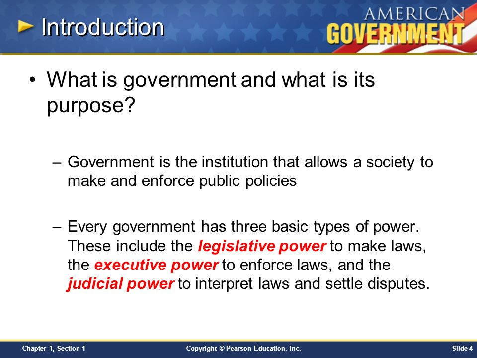 Introduction What is government and what is its purpose