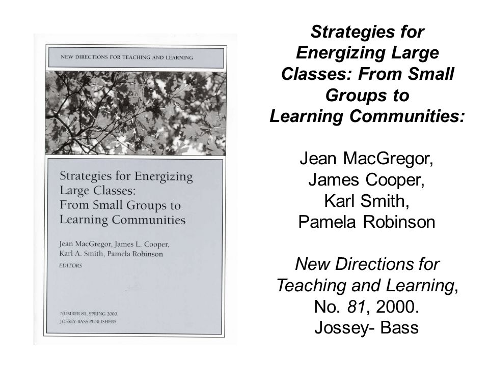 Strategies for Energizing Large Classes: From Small Groups to