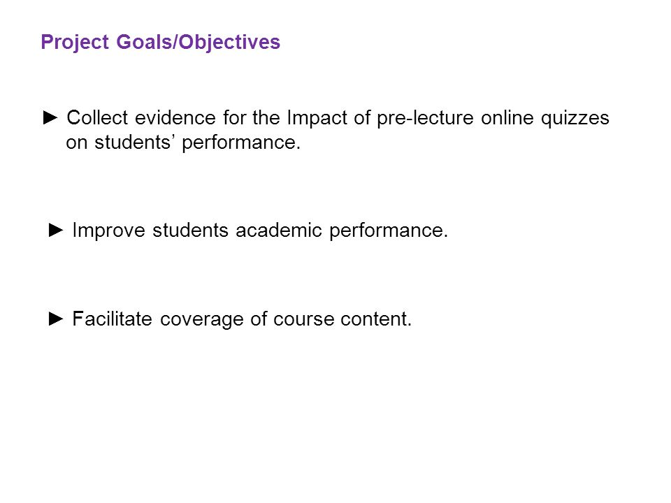 Project Goals/Objectives