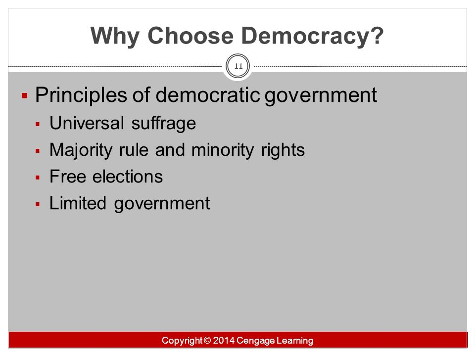 Why Choose Democracy Principles of democratic government