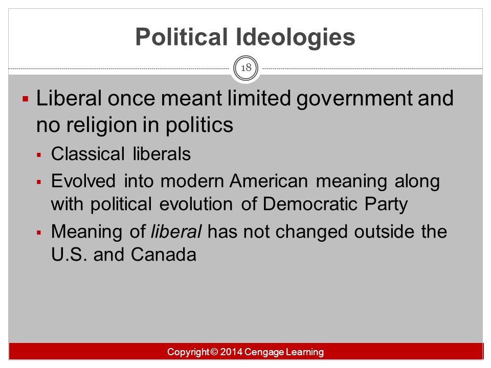 Political Ideologies Liberal once meant limited government and no religion in politics. Classical liberals.