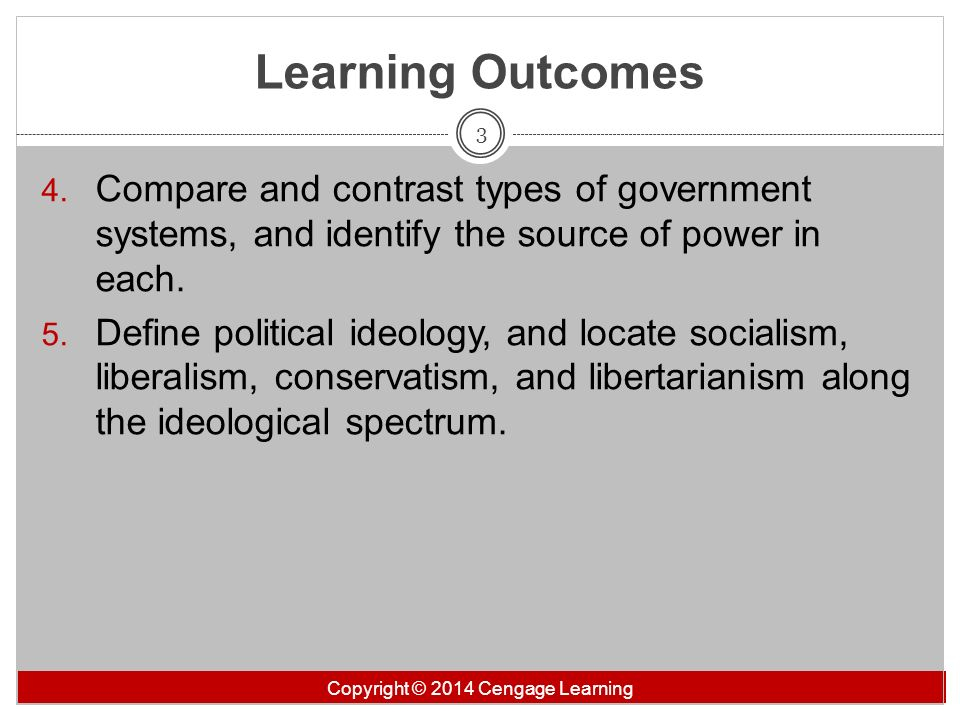 Learning Outcomes Compare and contrast types of government systems, and identify the source of power in each.
