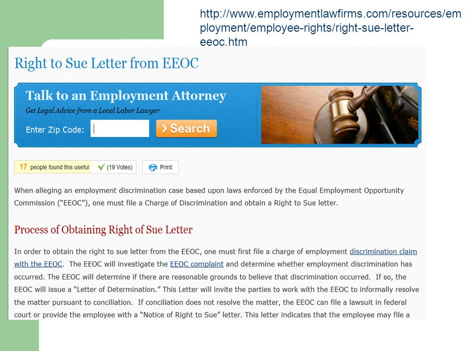 eeoc right to sue letter chapter 20 labor and fair employment practices ppt 21444 | http%3A%2F%2Fwww. employmentlawfirms