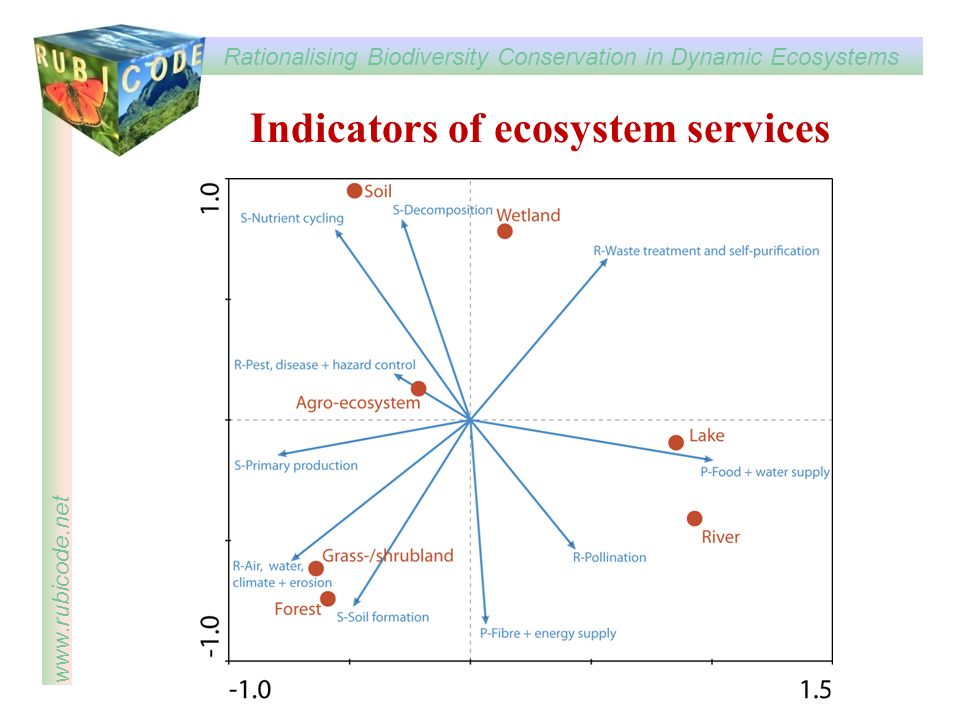 Indicators of ecosystem services