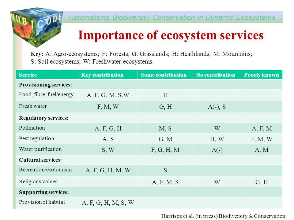 Importance of ecosystem services