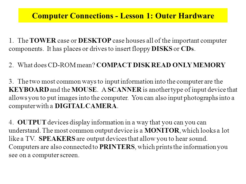 what do the letters cd rom stand for tech skills computer basics ppt 25509 | Computer Connections Lesson 1%3A Outer Hardware