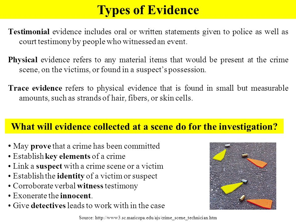 What will evidence collected at a scene do for the investigation