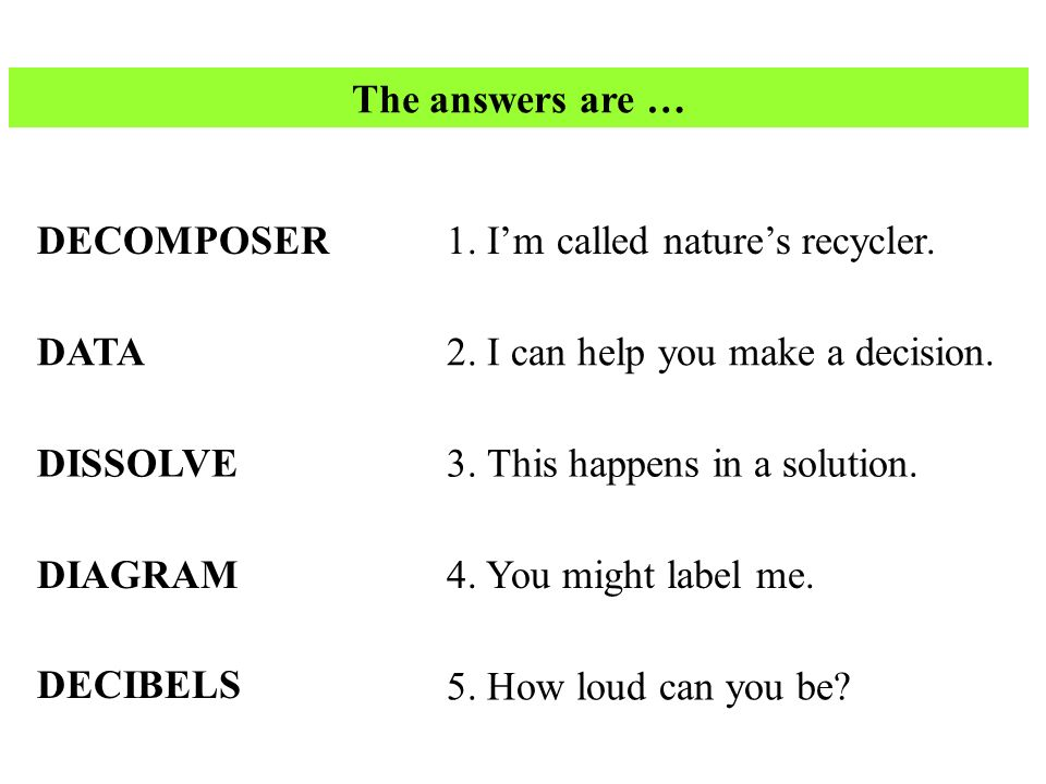 The answers are … DECOMPOSER. 1. I'm called nature's recycler. DATA. 2. I can help you make a decision.
