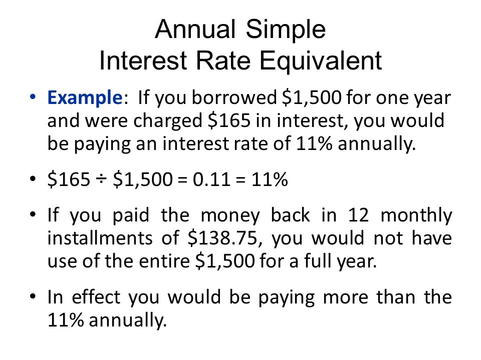 annual simple interest rate equivalent