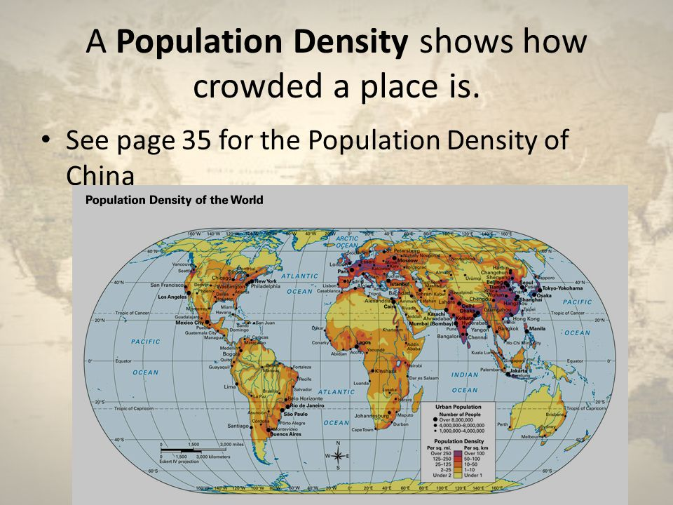 A Population Density shows how crowded a place is.