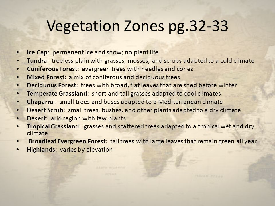 Vegetation Zones pg Ice Cap: permanent ice and snow; no plant life.